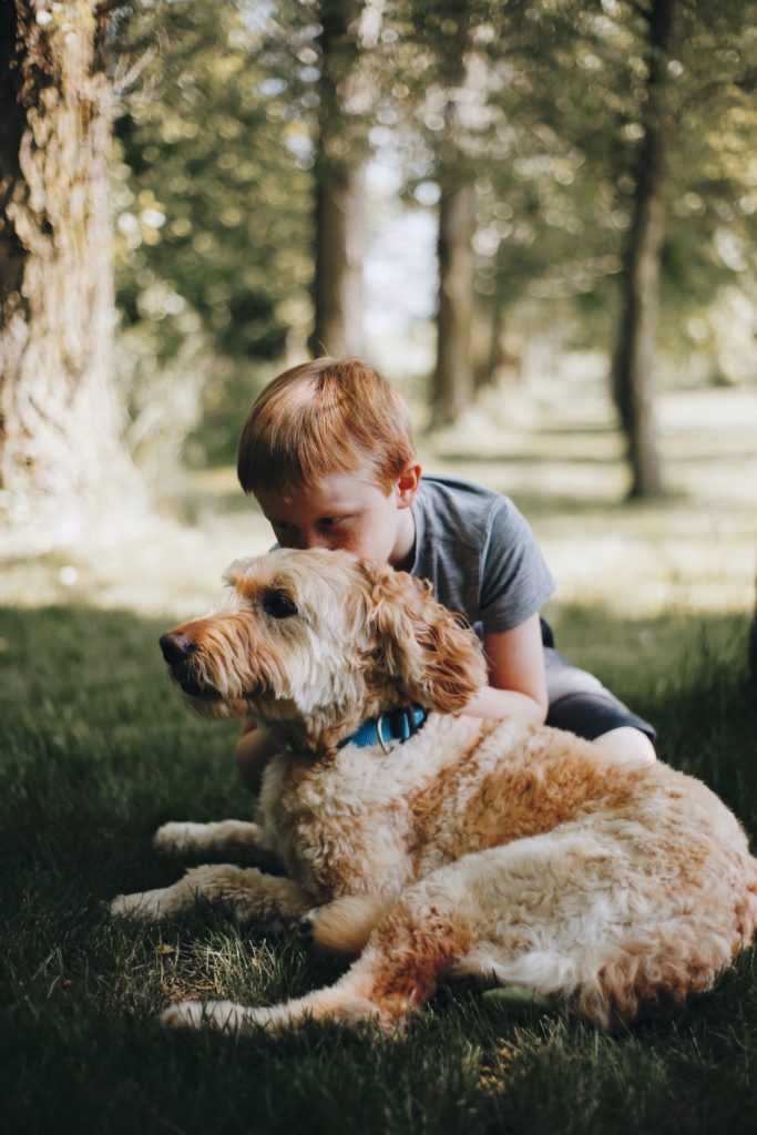 Child with dog for ADHD